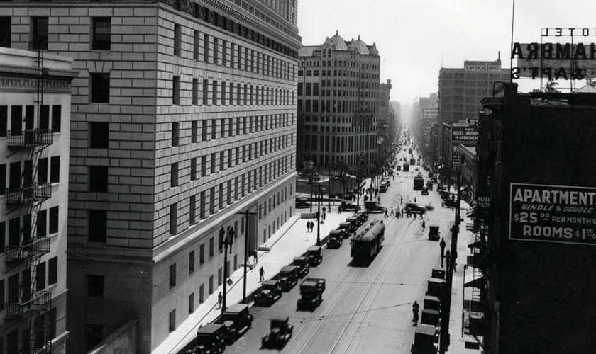 1920s: Hall of Justice looking south on Broadway