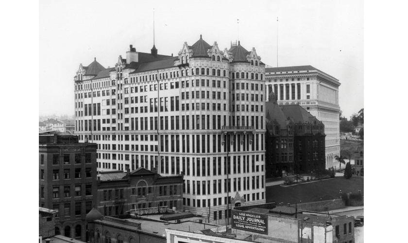 1927: View of the old Hall of Records Courthouse, Hall of Justice and Water and Power Associates