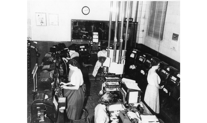 1950's: Records Bureau teletype Room
