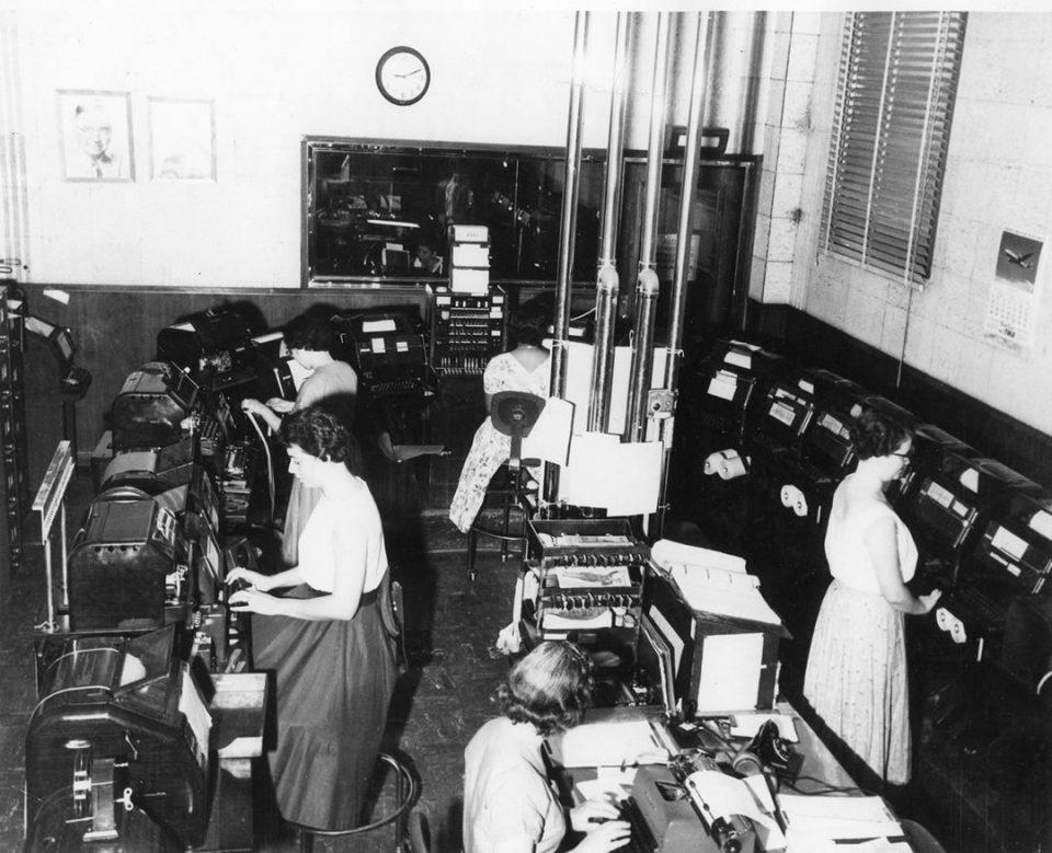Records Bureau teletype Room 1950s